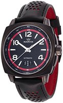 Marvin 'Malton' Swiss Automatic Stainless Steel and Leather Casual Watch, Color:Black (Model: M119.23.84.84)