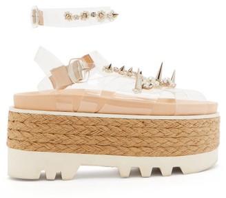 Simone Rocha Embellished Pvc-strap Espadrille Flatform Sandals - Womens - White