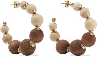 Shashi Rio Gold-plated Wood Hoop Earrings