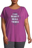 Gaiam Short Sleeve Scoop Neck T-Shirt-Womens Plus