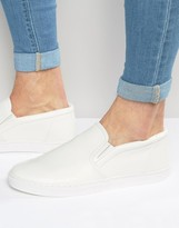 Asos Slip On Sneakers in White Leather Look
