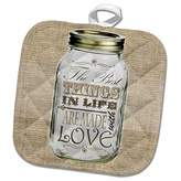 3D Rose Mason Jar on Burlap Print Brown-the Best Things in Life are Made with Love-Gifts for the Cook Pot Holder