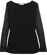Max Mara Plissé Silk-chiffon And Linen-paneled Stretch-jersey Blouse - Black