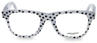 Saint Laurent 50MM Star-Print Rectangle Core Blue Light Reading Glasses