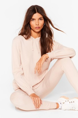 Nasty Gal Womens Leave 'Em to Knit Hoodie and Leggings Lounge Set - Oyster