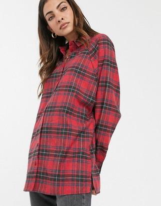 Asos Design DESIGN long sleeve boyfriend shirt in red and black tartan check-Multi
