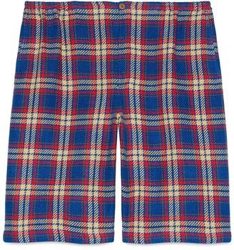 Gucci Check cotton linen shorts with anchor
