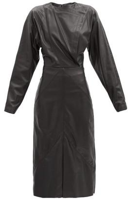 Isabel Marant Lazuli Balloon-sleeve Leather Midi Dress - Black