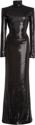 David Koma Sequined Jersey Mock-Neck Gown