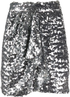 Amen Sequined Draped Detail Mini Skirt