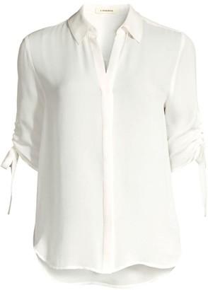 L'Agence Isa Shirred Sleeve Silk Blouse