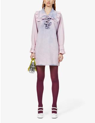 MSGM Tie-dye denim mini dress