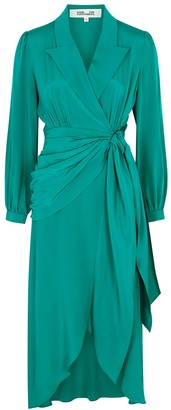 Diane von Furstenberg Stella aqua wrap-effect satin midi dress