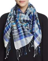 Echo Woven Plaid Silk Square Scarf