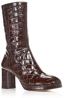 Miista Women's Carlota Croc Embossed Boots