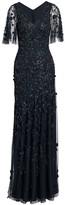 Theia Metallic Beaded Flutter-Sleeve Column Gown
