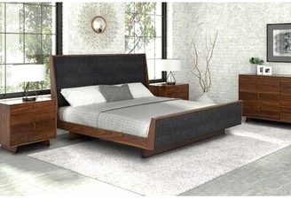 Copeland Furniture Keaton Upholstered Sleigh Bed Size: King, Color: Dark Brown Microsuede