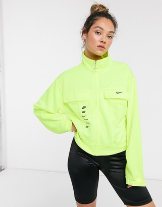 Nike swoosh track jacket in fluro green