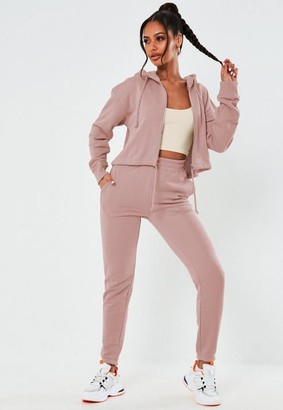 Missguided Pink Cropped Hoodie And Joggers Co Ord Set