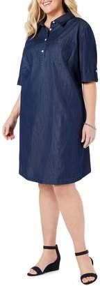 Karen Scott Plus Short-Sleeve Chambray Shirtdress