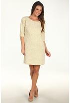 Maggy London Broken Chevron Metallic Stripe Shift Dress (White/Gold) - Apparel