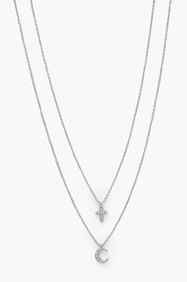 boohoo Diamante Cross & Moon Necklace Pack