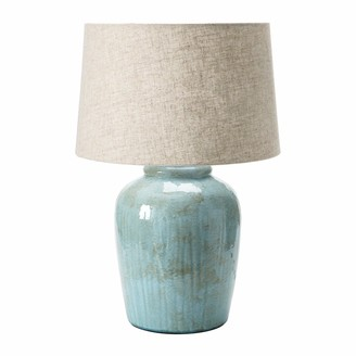 Creative Co-op DF4157 Coastal Aqua Blue Ceramic Stoneware Table Natural Ivory Linen Shade Reactive Glaze Finish Lamp
