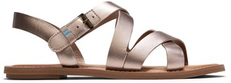 Toms Rose Gold Metallic Leather Sicily Women's Sandals