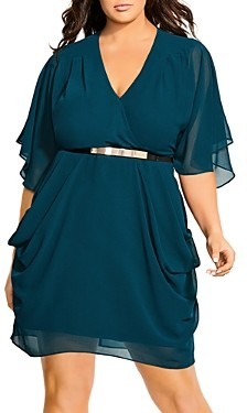 City Chic Plus Belted Flutter-Sleeve Dress