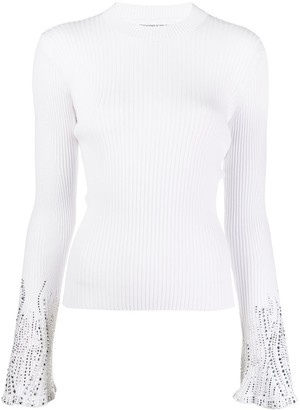 Ermanno Scervino Long Sleeve Crystal-Embellished Cuffs Sweater