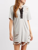 Charlotte Russe Destroyed Lace-Up Hooded Sweatshirt
