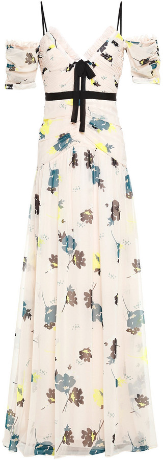 Self-Portrait Cold-shoulder Bow-detailed Printed Chiffon Maxi Dress
