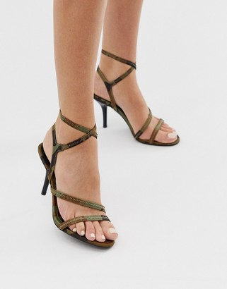 Asos DESIGN Heightened mid-heeled strappy sandals in camo