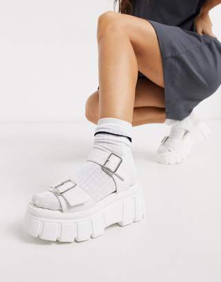 Truffle Collection two part buckle chunky sandal in white