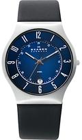 Skagen 233xxlslb Leather Strap Watch, Black/blue