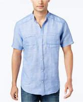 INC International Concepts I.n.c. Men's Linen-Blend Band-Collar Shirt, Created for Macy's