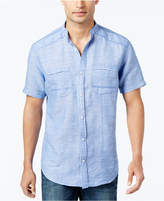 INC International Concepts Men's Linen-Blend Band-Collar Shirt, Created for Macy's