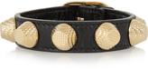 Balenciaga Giant Textured-leather And Gold-tone Bracelet - Black