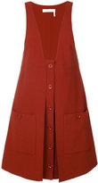 Chloé patch pocket pinafore dress - women - Silk/Virgin Wool - 38