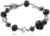 "Carolee Flower District Jet"" Flower District Jet Link Bracelet"