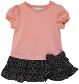 """Joined At The Hip Babywear """"Bryer style"""" - Girl's one-piece dress with snaps in crotch, 0-3 months, Pink top with brown/white polka-dot skirt"""