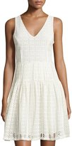 Joie Pruitt Eyelet Fit-and-Flare Dress, Porcelain