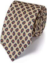 Charles Tyrwhitt Stone Silk Print Luxury Tie