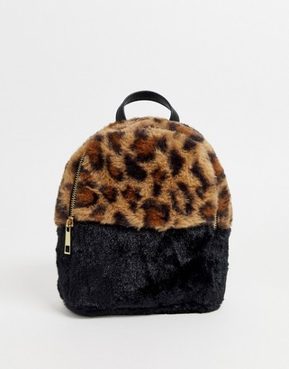 Chateau Faux Leopard Fur Mini Backpack
