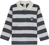 Petit Bateau Striped cotton long-sleeved polo shirt 3-36 months