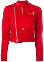 DSQUARED2 cropped twill biker jacket - women - Cotton/Polyester/Spandex/Elastane/copper - 42
