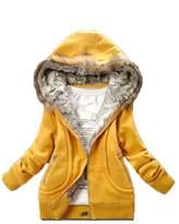 Gaorui women fur collar hooded winter keep warm hoodies top Jacket coat casual outwear-M_