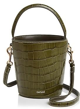 Cafune Mini Croc-Embossed Bucket Bag
