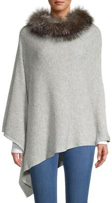 Sofia Cashmere Fox Fur-Trim Wool Cashmere Poncho