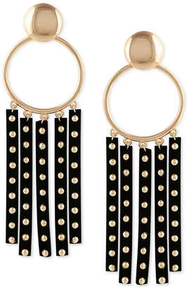 GUESS Gold-Tone Studded Faux-Leather Fringe Drop Hoop Earrings